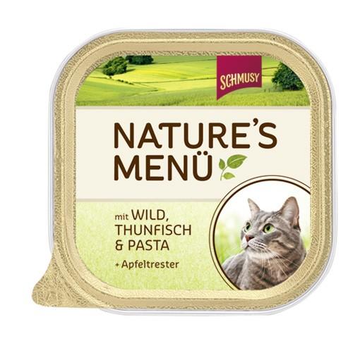 Schmusy Natures Menü mit Wild, Thunfisch & Pasta + Apfeltrester 16 x 100 g