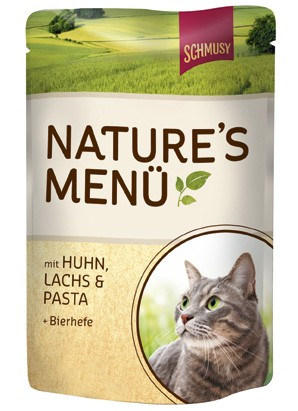 Schmusy Natures Menü mit Huhn, Lachs & Pasta + Bierhefe 24 x 100 g