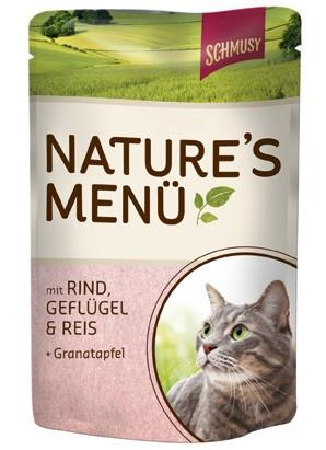 Schmusy Natures Menü mit Rind, Geflügel & Reis + Granatapfel 24 x 100 g