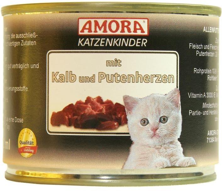 Amora Cat Fleisch Pur für Katzenkinder mit Kalb & Putenherzen 200 g