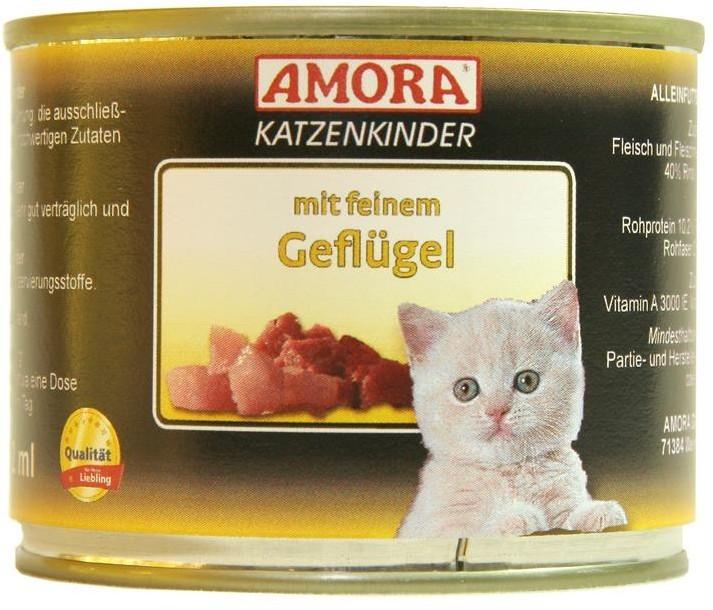 Amora Cat Fleisch Pur für Katzenkinder mit feinem Geflügel 200 g