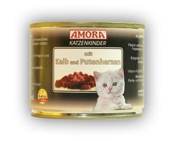 Amora Cat Fleisch pur Katzenkinder mit Kalb und Putenherzen 200 g