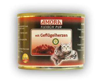 Amora Cat Fleisch pur mit Geflügelherzen 200 g
