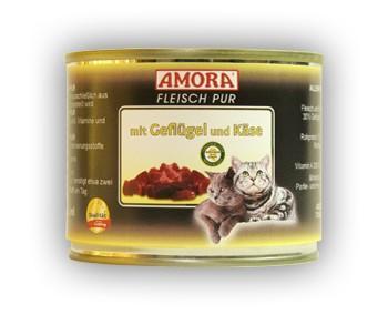 Amora Cat Fleisch pur mit Geflügel und Käse 200 g