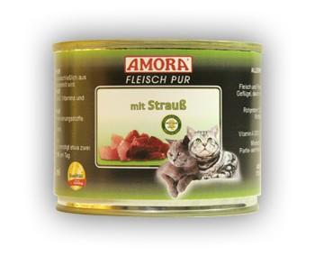 Amora Cat Fleisch pur mit Strauß 200 g
