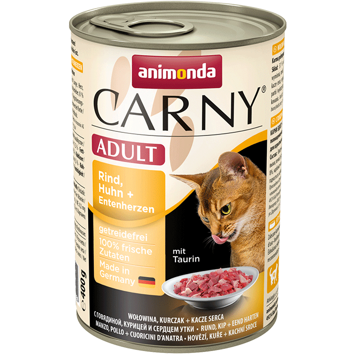 Animonda Cat Carny Adult Rind, Huhn & Entenherzen 6 x 400 g