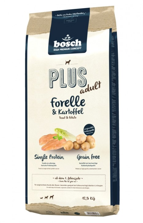 Bosch Plus Adult Forelle & Kartoffel 1 kg, 2,5 kg oder 12,5 kg (SPARTIPP: unsere Staffelpreise)