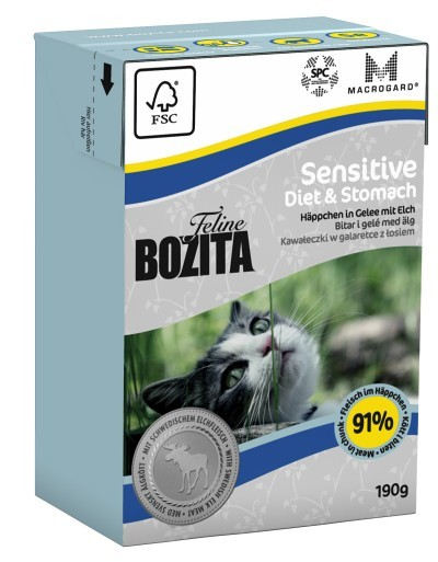 Bozita Feline Sensitive Diet & Stomach Häppchen in Gelee mit Elch 16 x 190 g