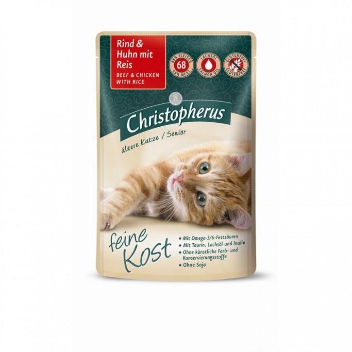 Christopherus Feine Kost Ältere Katze Rind & Huhn mit Reis 12 x 85 g