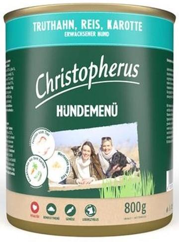 Christopherus Fleischmenü mit Truthahn, Reis und Karotte 800 g