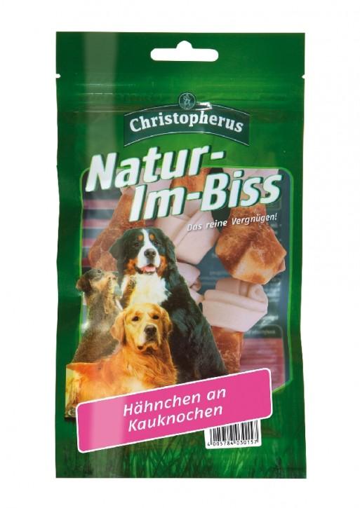 Christopherus Snack Natur im Biss Hähnchen an Kauknochen 12 x 70 g