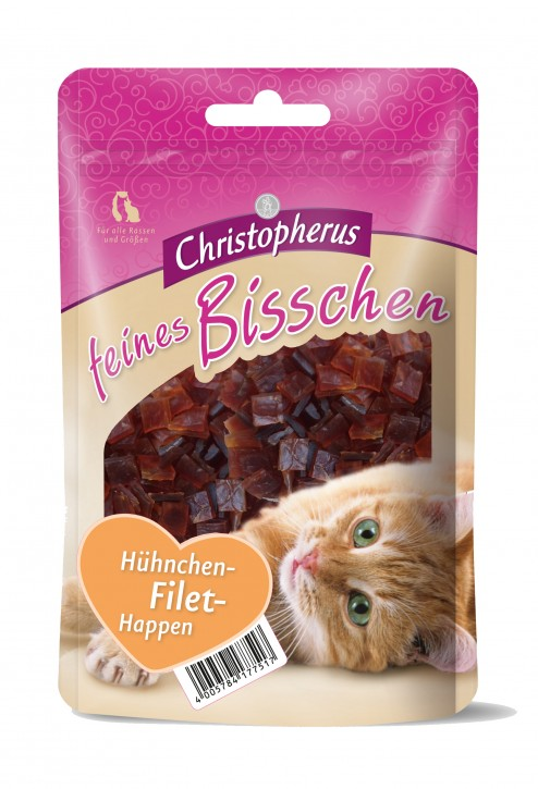 Christopherus Cat Snack Feines Bisschen Hühnchen Filet Happen 12 x 40 g