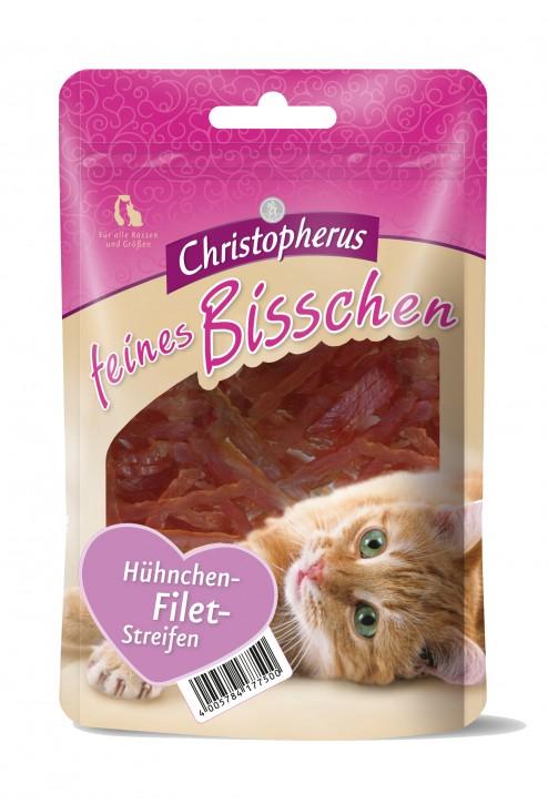 Christopherus Cat Snack Feines Bisschen Hühnchen Filet Streifen 12 x 40 g