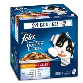 Felix So gut wie es aussieht Doppelt Lecker mit Fleisch in Gelee 24-er Multipack 96 x 100 g