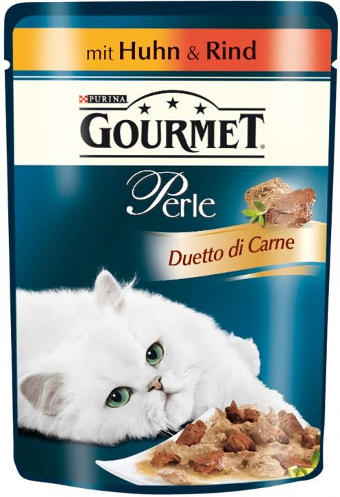 Gourmet Perle Duetto di Carne Huhn & Rind Portionsbeutel 24 x 85 g