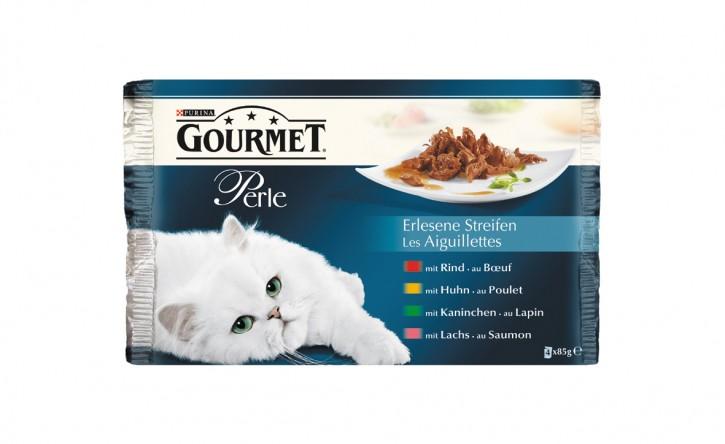 Gourmet Perle Erlesene Streifen mit Rind, Huhn, Kaninchen und Lachs 4-er Multipack Portionsbeutel 48 x 85 g