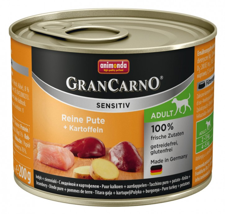 Animonda Dog Gran Carno Sensitiv Adult Reine Pute plus Kartoffeln 200 g