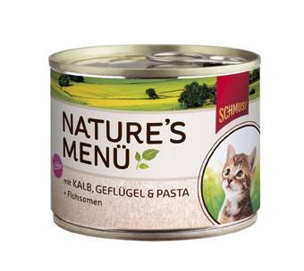 Schmusy Natures Menü Kitten mit Kalb, Geflügel & Pasta + Flohsamen Dose 190 g