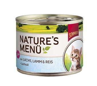 Schmusy Natures Menü Kitten mit Lachs, Lamm & Reis + Lachsöl Dose 190 g