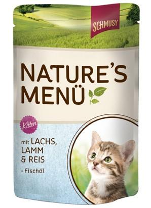Schmusy Natures Menü Kitten mit Lachs, Lamm & Reis + Lachsöl 24 x 100 g