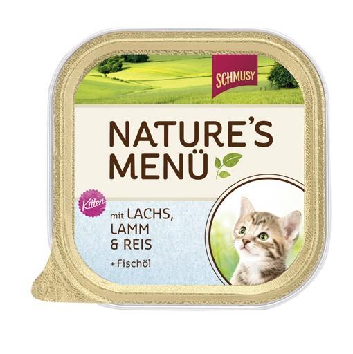 Schmusy Natures Menü Kitten mit Lachs, Lamm & Reis + Lachsöl 16 x 100 g
