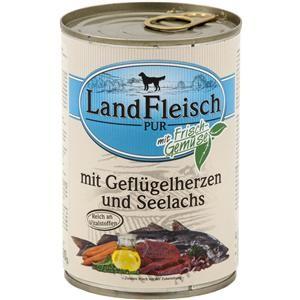 LandFleisch Pur mit Geflügelherzen und Seelachs 400 g