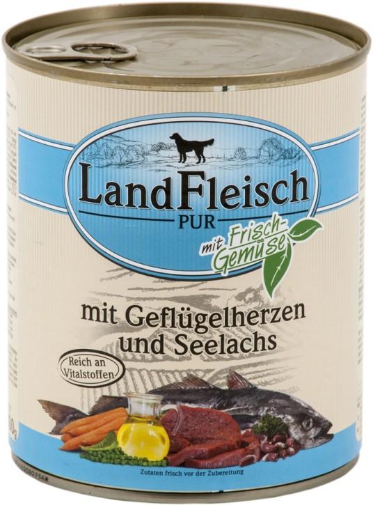 LandFleisch Pur mit Geflügelherzen und Seelachs 6 x 800 g