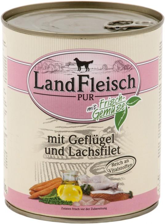 LandFleisch Pur mit Geflügel und Lachsfilet 800 g