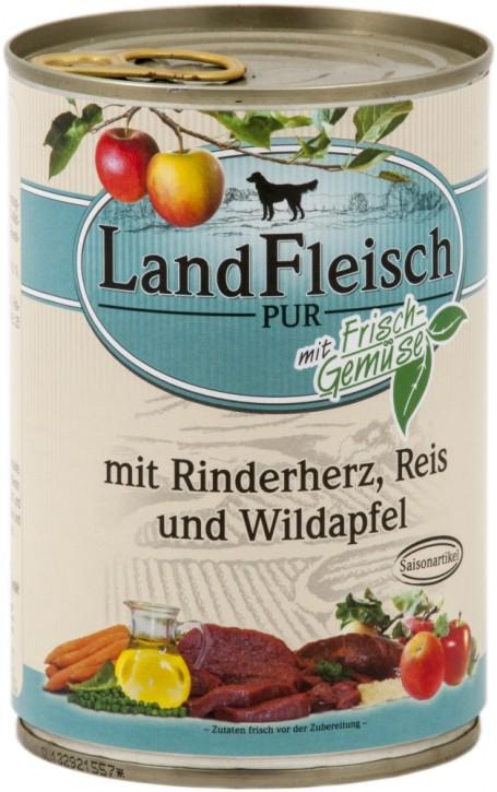 LandFleisch Pur mit Rinderherz, Reis und Wildapfel 400 g
