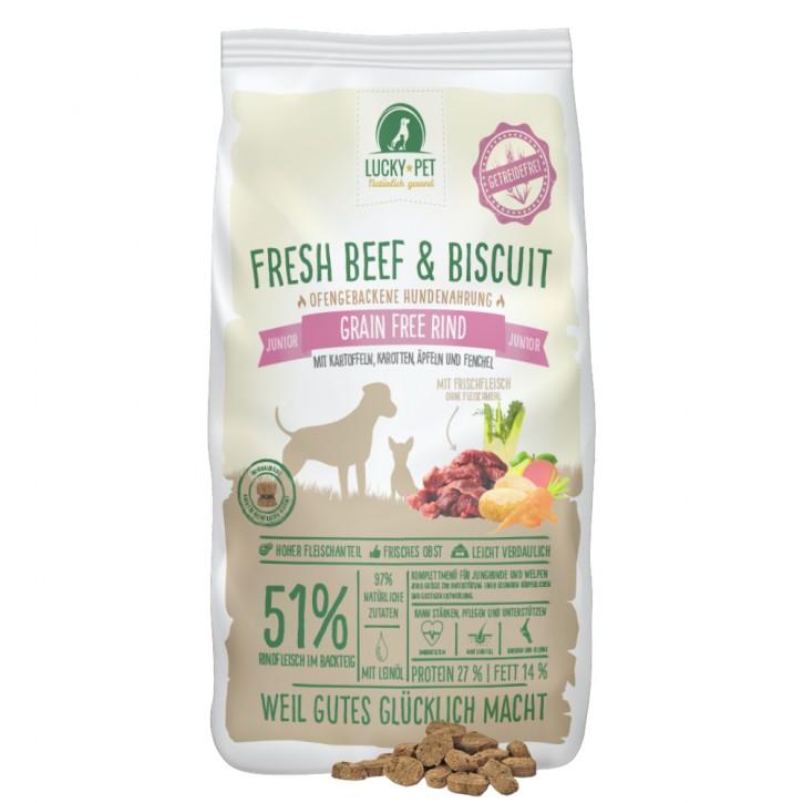 Lucky Pet Fresh Beef & Biscuit Grainfree Junior 12 kg (SPARTIPP: unsere Staffelpreise)