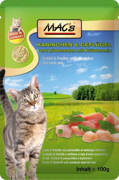 Macs Cat Kaninchen & Geflügel mit Löwenzahn 12 x 100 g