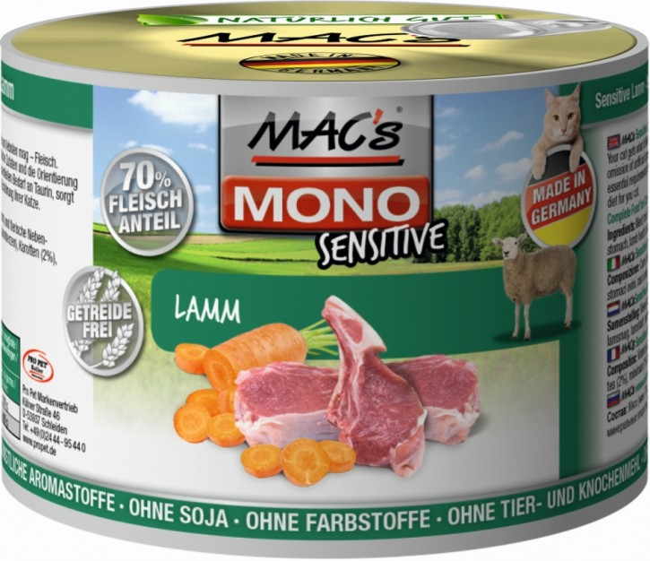 Macs Cat Mono Sensitive Lamm 200 g