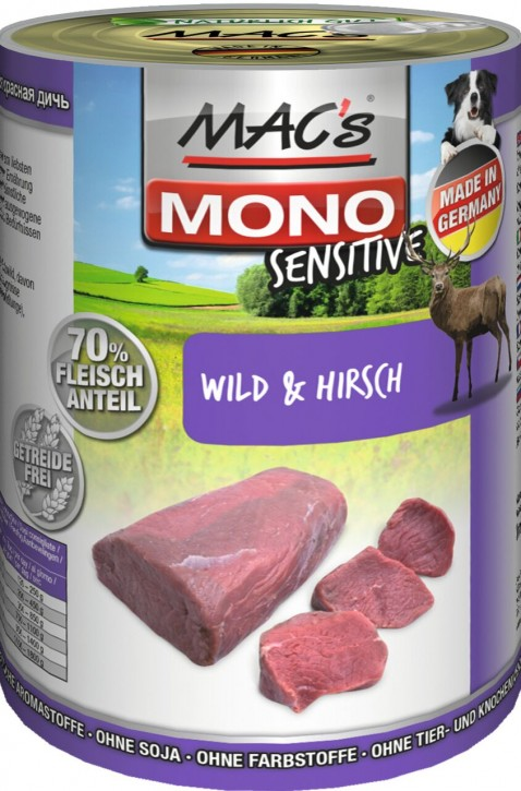 Macs Dog Mono Sensitive Wild und Hirsch 400 g