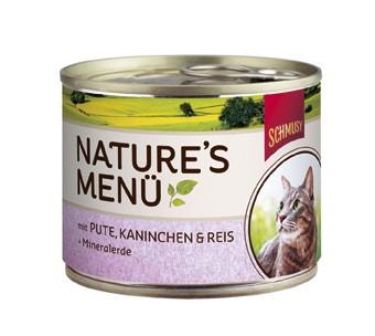 Schmusy Natures Menü mit Pute, Kaninchen & Reis + Mineralerde Dose 190 g