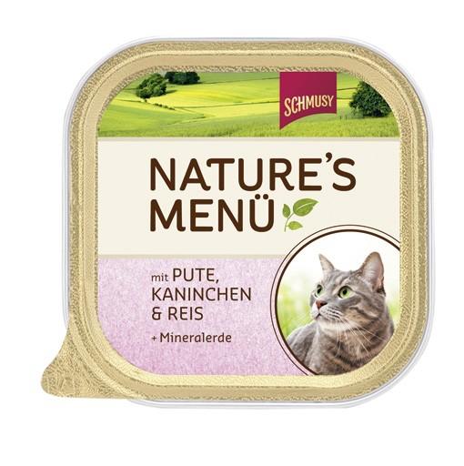 Schmusy Natures Menü mit Pute, Kaninchen & Reis + Mineralerde 16 x 100 g