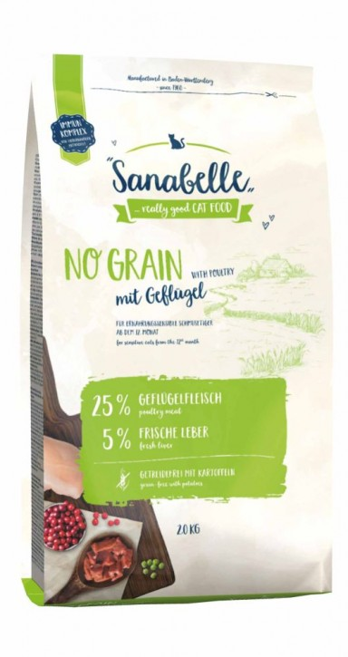 Sanabelle No Grain Geflügel 400 g, 2 kg oder 10 kg (SPARTIPP: unsere Staffelpreise)
