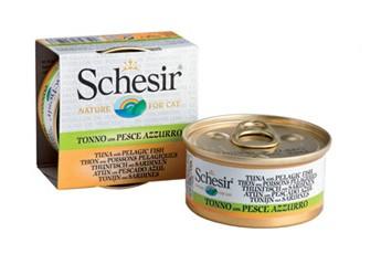 Schesir Cat in Brühe mit Thunfisch und Sardinen 24 x 70 g