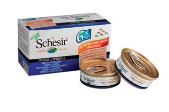 Schesir Cat in Gelatine mit Thunfisch und Wolfsbarsch Multipack 48 x 50 g