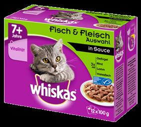 Whiskas 7+ Fleisch- und Fischauswahl in Sauce 12-er Multipack 48 x 100 g