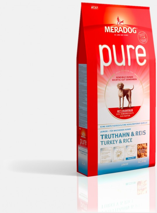 Mera Dog Pure Junior Truthahn & Reis 4 kg oder 12,5 kg (Angebotspreis)