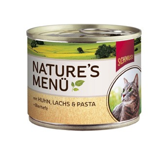 Schmusy Natures Menü mit Huhn, Lachs & Pasta + Bierhefe Dose 190 g
