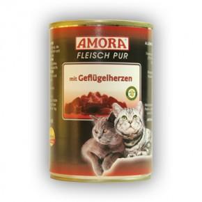 Amora Cat Fleisch pur mit Geflügelherzen 6 x 400 g