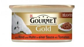 Gourmet Gold Délicatesse en Sauce mit Rind und Huhn in Tomatensauce Dose 24 x 85 g