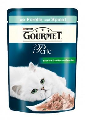 Gourmet Perle Erlesene Streifen mit Forelle und Spinat Portionsbeutel 24 x 85 g