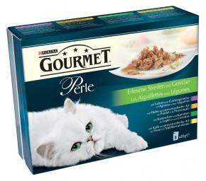 Gourmet Perle Erlesene Streifen mit Gemüse mit Kaninchen, Lamm, Kalb, Huhn 8-er Multipack Portionsbeutel 80 x 85 g