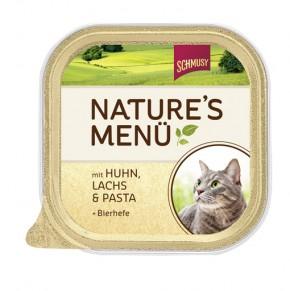 Schmusy Natures Menü mit Huhn, Lachs & Pasta + Bierhefe 16 x 100 g