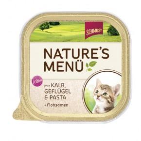 Schmusy Natures Menü Kitten mit Kalb, Geflügel & Pasta + Flohsamen 16 x 100 g