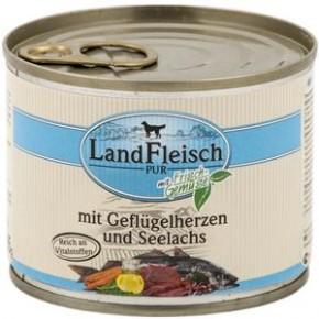 LandFleisch Pur mit Geflügelherzen und Seelachs 195 g