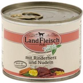 LandFleisch Pur mit Rinderherz und Nudeln 12 x 195 g