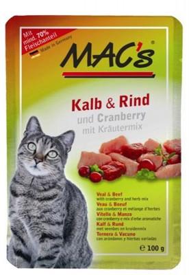 Macs Cat Kalb & Rind und Cranberry 12 x 100 g